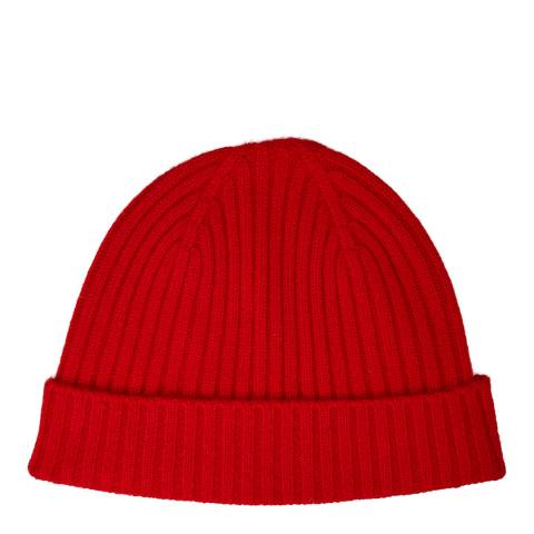 N°· Eleven Red Cashmere Ribbed Beanie