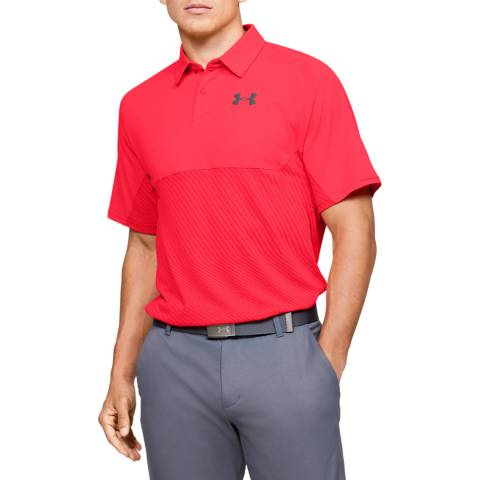 Under Armour Red Tour Tips Blocked Polo