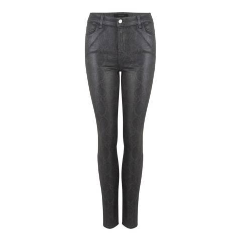 J Brand Charcoal Snake Coated Skinny Stretch Jeans