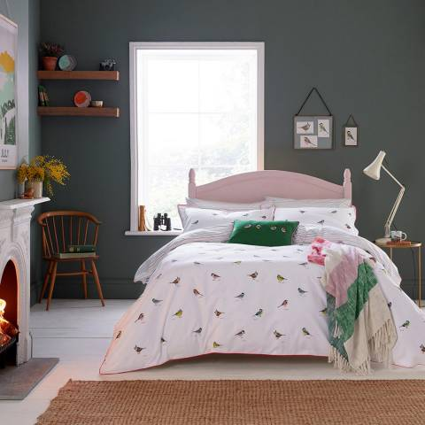 Joules Great British Bird Double Duvet Cover, Chalk