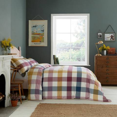 Joules Country Ramble Double Duvet Cover, Plum