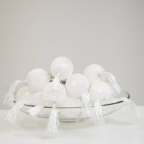 Christmas Magic White Jolly Tassel String Lights