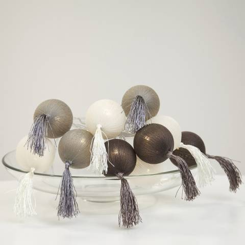Christmas Magic Brown Jolly Tassel String Lights