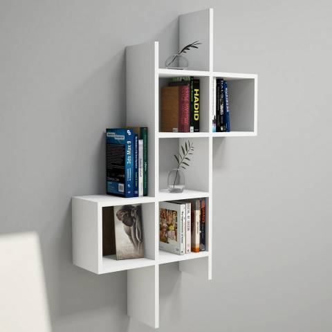 Vivense Keno Wall Mounted Bookcase, White