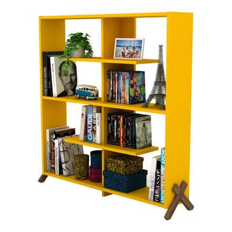 Vivense Kipp Bookcase, Yellow & Walnut