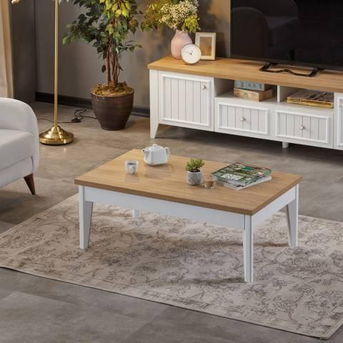 Vivense Lorin Coffee Table, Oak & White