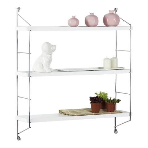 Vivense Neelix Floating Shelves, White & Chrome