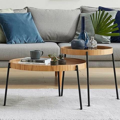 Vivense Set of 2 Ronda Coffee Tables, Oak