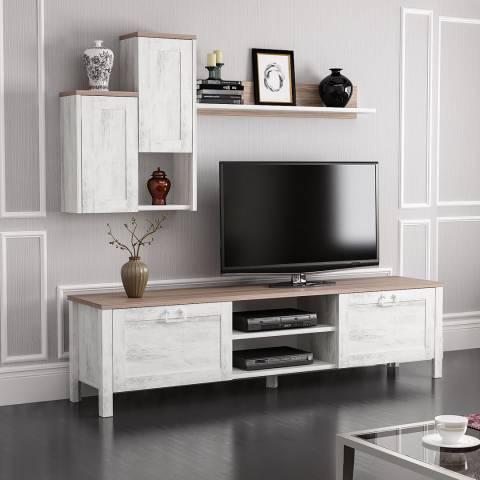 Vivense Set of Sento TV Unit & Floating Shelf Complex, White