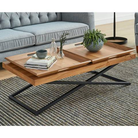 Vivense Set of Towly Coffee Table & 2 Wooden Trays, Walnut