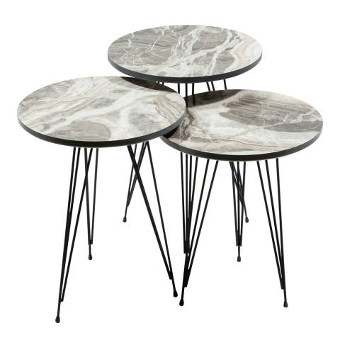 Vivense Set of 3 Twins Coffee Tables, Marble Effect - Cream & Grey