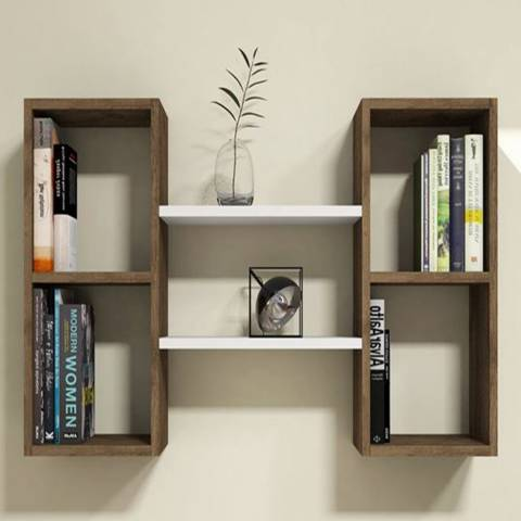 Vivense Bambi Wall Mounted Bookcase, Walnut & White