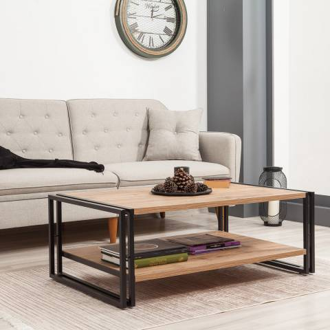 Vivense Cosmo Rectus Coffee Table, Pine & Black