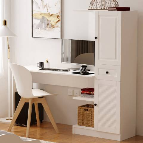 Vivense Izel Country Computer Desk with Bookcase, White