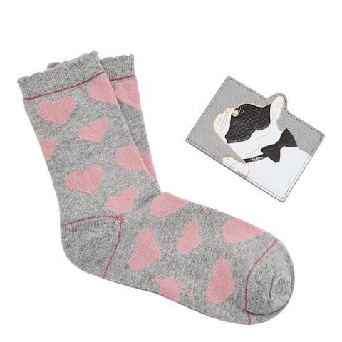 Ted Baker Grey Cotton Dog Sock Card Holder Set