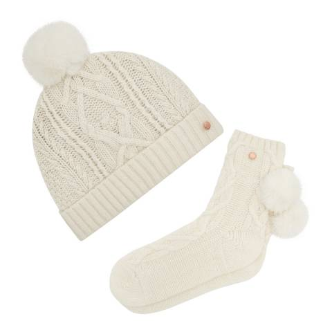 Ted Baker Ivory Knitted Pom Hat and Sock Set