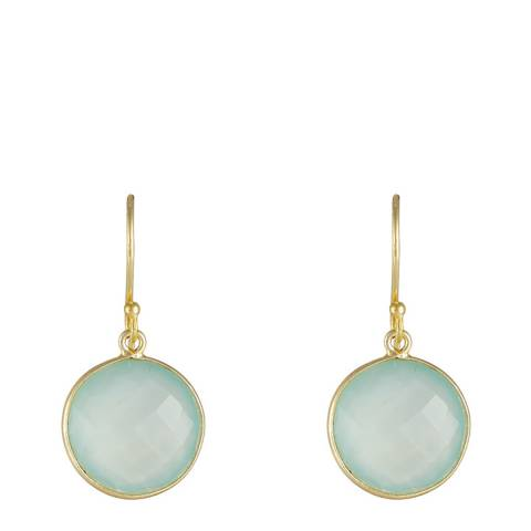 Liv Oliver 18K Gold Plated Sea Green Chalcedony Disc Earrings