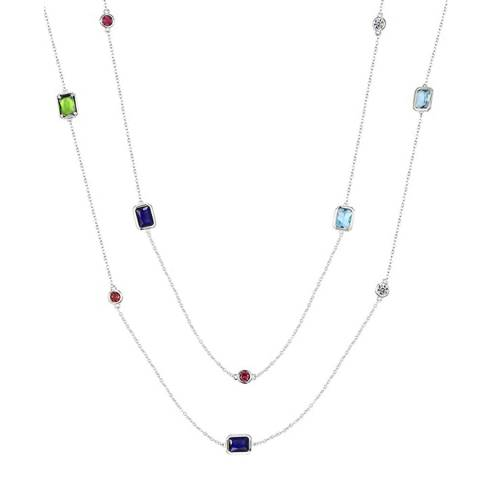 Liv Oliver Silver Plated Emerald Cut Multi Long Necklace