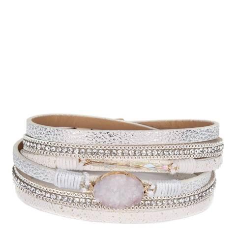 Liv Oliver 18K Gold Plated White Multi Wrap Bracelet