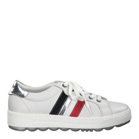 Jana White Silver Leather Flat Runner Sneakers