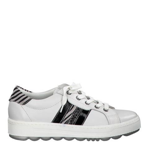 Jana White Zebra Leather Flat Runner Sneakers