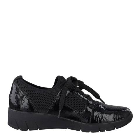 Jana Black Patent Wedge Sole Sneakers