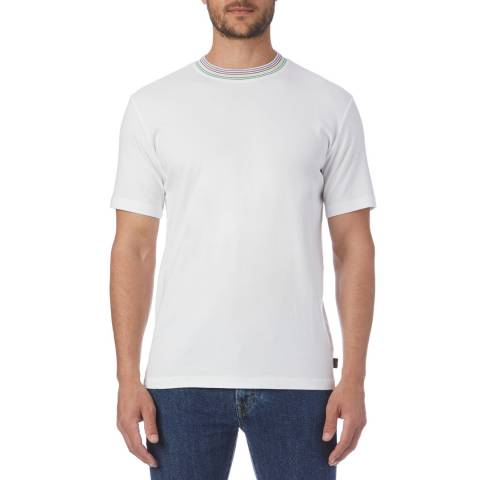 PAUL SMITH White Stripe Collar Regular T-Shirt