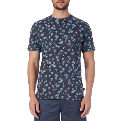 PAUL SMITH Navy Palm Print T-Shirt