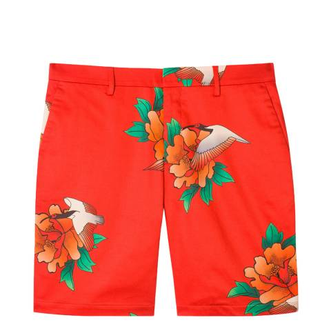 PAUL SMITH Red Floral Print Shorts