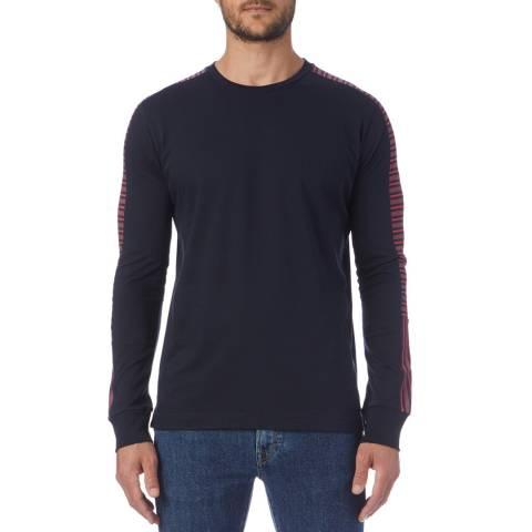 PAUL SMITH Navy Side Stripe Regular Long Sleeve Top