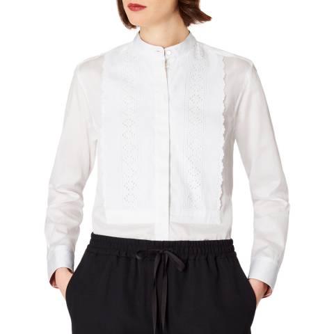 PAUL SMITH White Grandad Collar Cotton Shirt