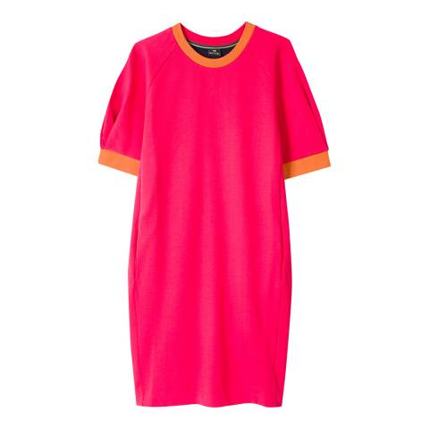 PAUL SMITH Bright Pink/Navy Cotton Sweater Dress