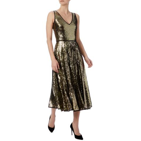 PAUL SMITH Gold Sequin Midi Dress