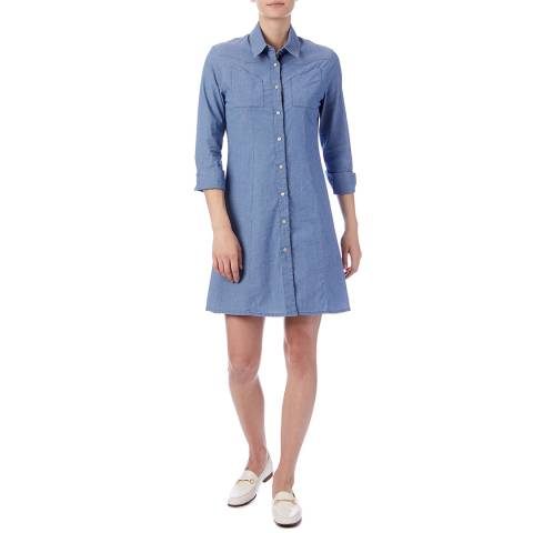 PAUL SMITH Blue A Line Cotton Stretch Dress