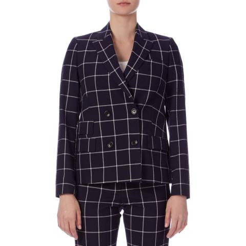PAUL SMITH Navy Check Double Breasted Blazer