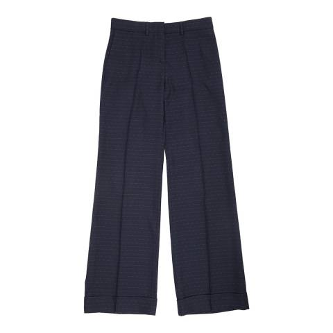 PAUL SMITH Navy Dotted Stripe Wide Trousers