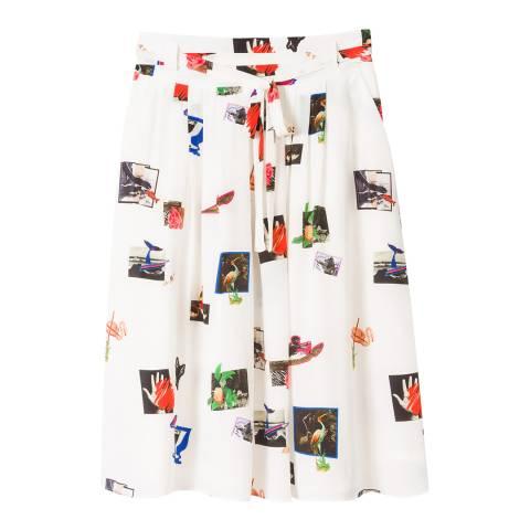 PAUL SMITH White Scrapbook Silk Skirt