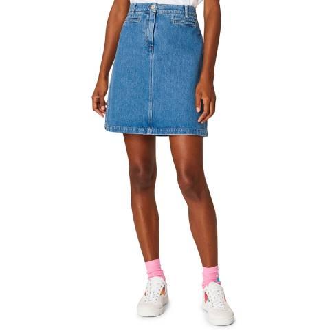 PAUL SMITH Blue A Line Denim Skirt