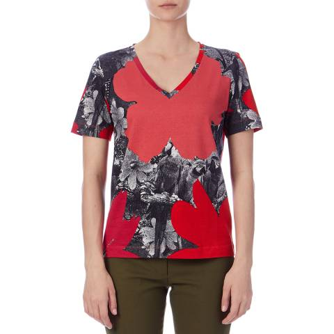 PAUL SMITH Red/Multi Rainforest V Neck T-Shirt