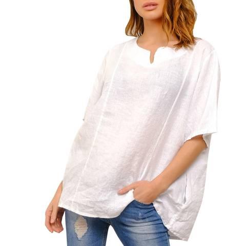 100% Linen White Linen Relaxed Blouse