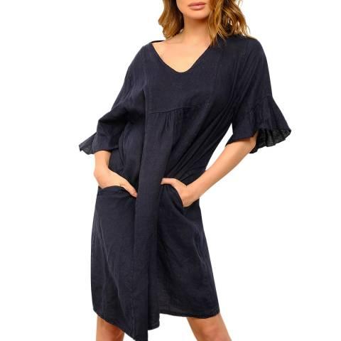 100% Linen Navy V Neck Linen Dress