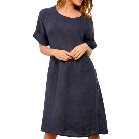 100% Linen Navy Knee Length Linen Dress