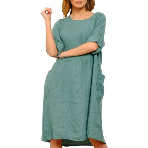 100% Linen Blue Knee Length Linen Dress