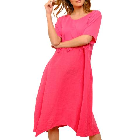 100% Linen Pink Midi Linen Dress