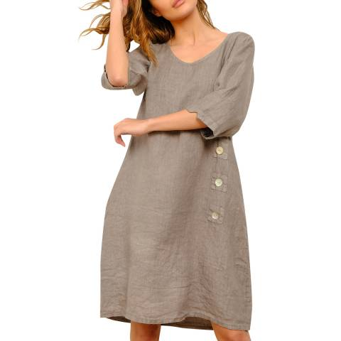 100% Linen Beige Linen Summer Dress