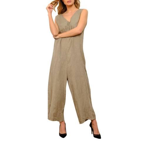100% Linen Beige Wide Leg Linen Jumpsuit
