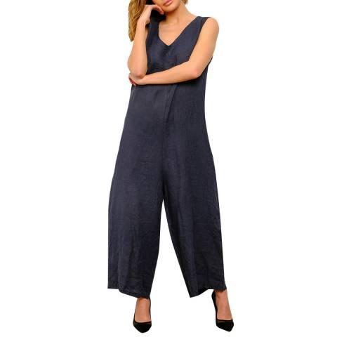 100% Linen Navy Wide Leg Linen Jumpsuit