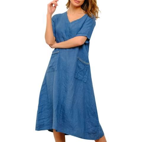 100% Linen Blue V Neck Linen Dress