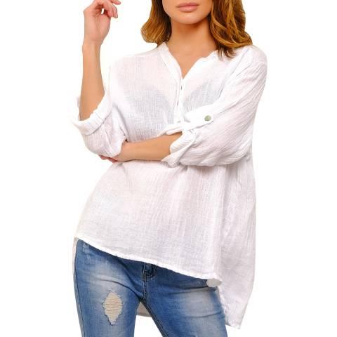 100% Linen White Rhoda Linen Blouse