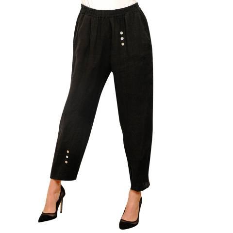100% Linen Black Relaxed Linen Trousers